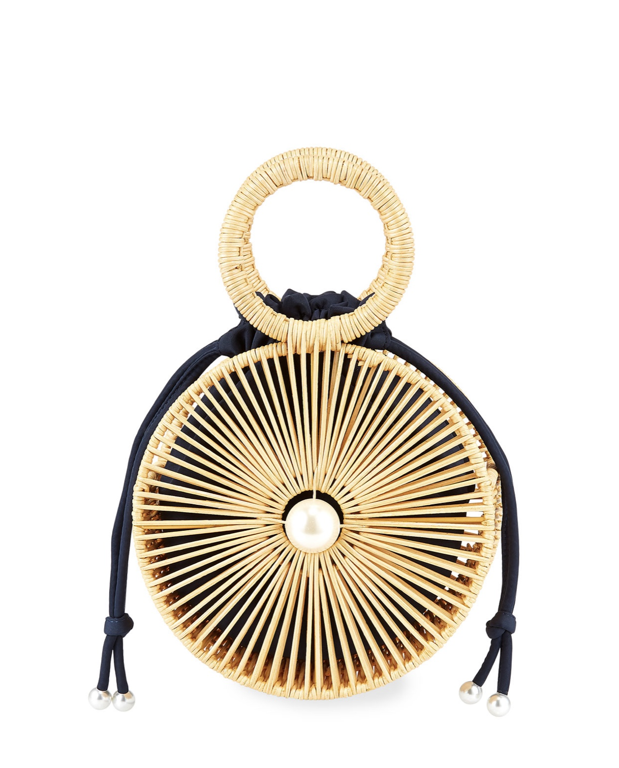 PAMELA MUNSON The Marguerite Round Rattan Ring Handle Bag