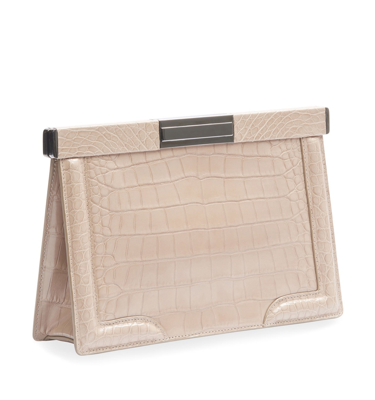 ALAIA Cecile Crocodile embossed leather clutch bag