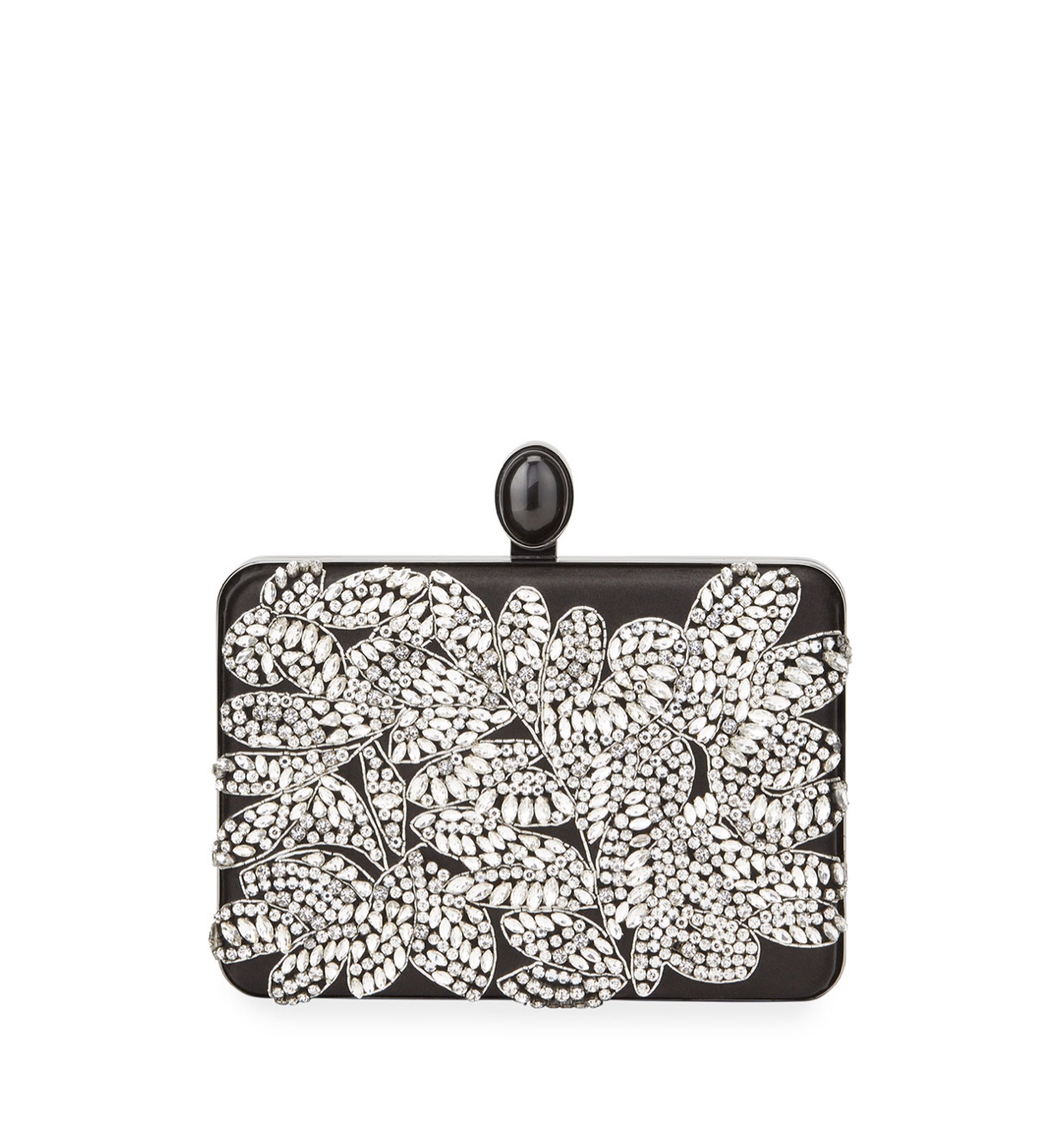 OSCAR DE LA RENTA Embellished Satin Box Clutch Bag