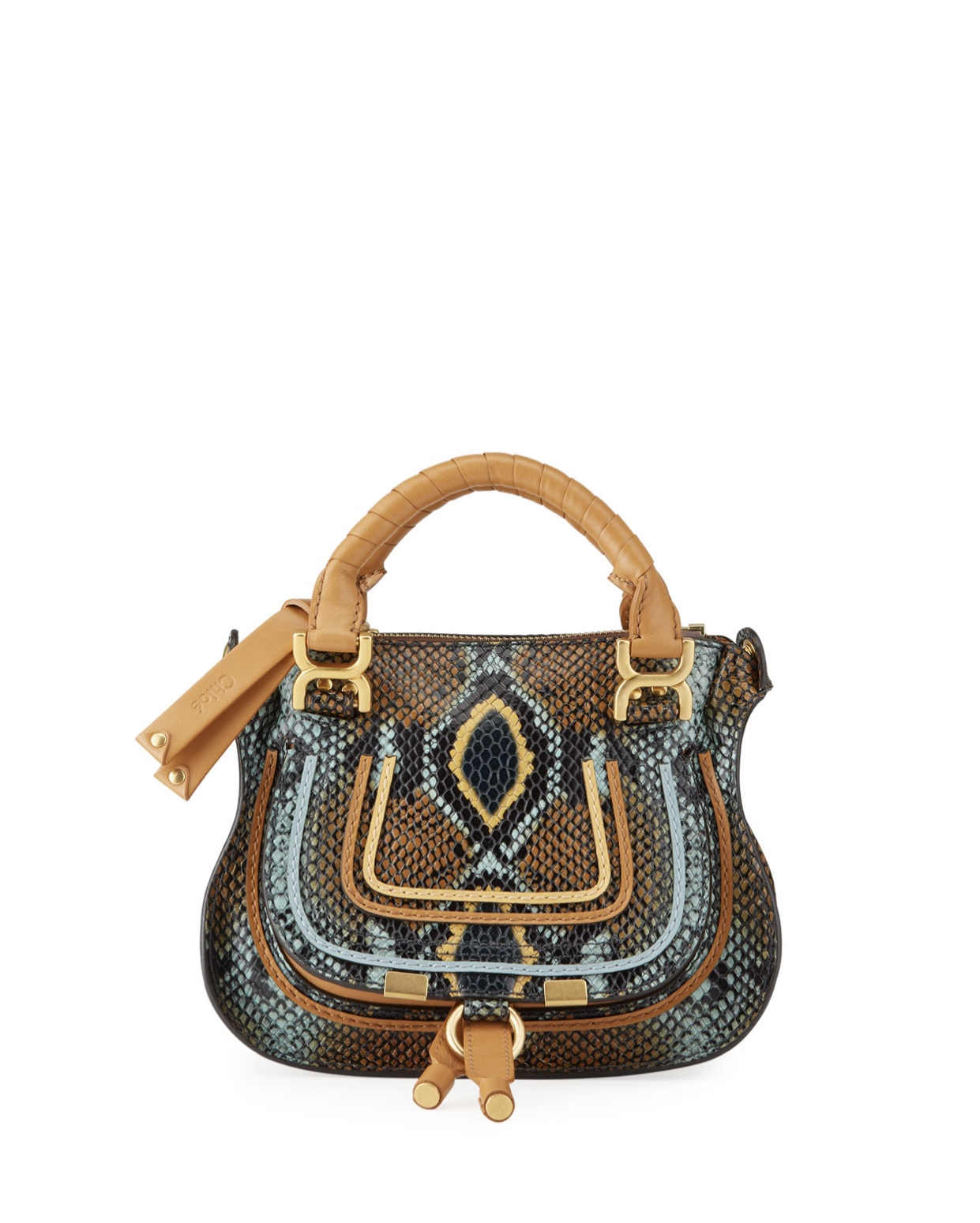 CHLOE Marcie Mini Python embossed double carry satchel